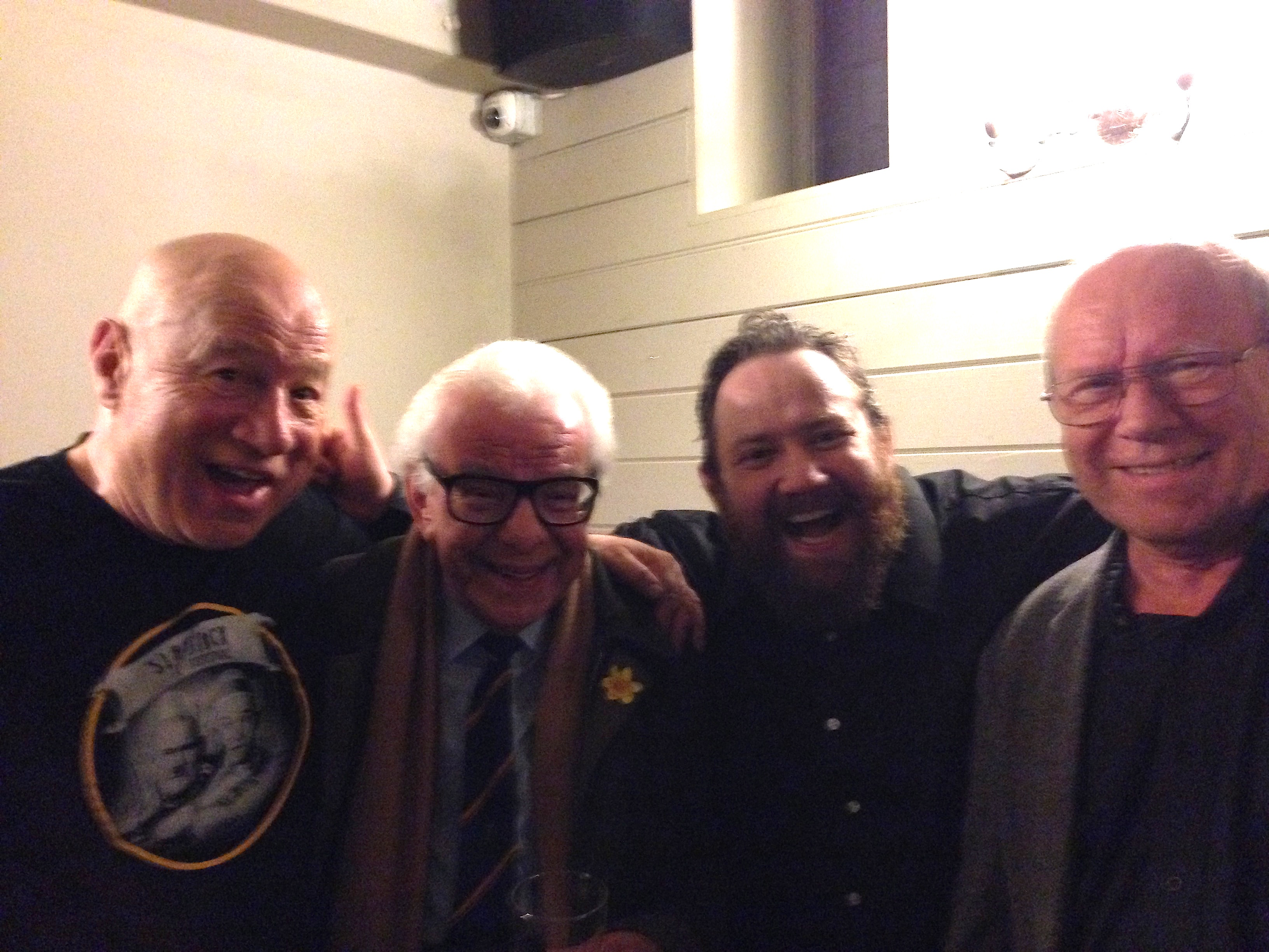 Neil Innes, Barry Cryer, me and Graeme Garden after the Bristol Old Vic show